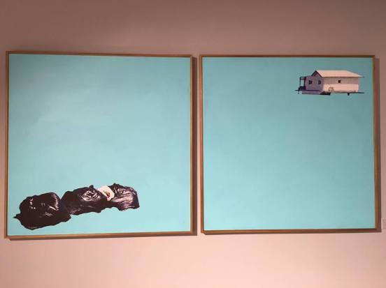«7achek barcha...», technique mixte sur toile, 100x100 (chacun), 2016.