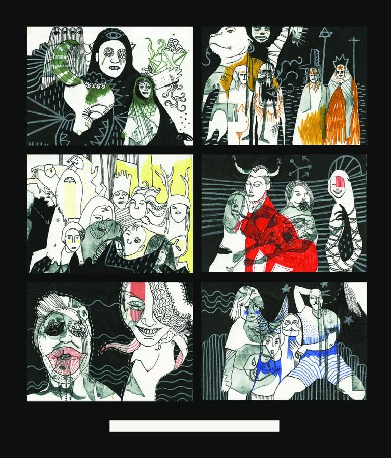 Samantha's albums - technique mixte sur gravures rehaussées sur papier Arches- 2014 (2)