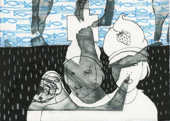 «Samantha's albums», technique mixte sur gravures rehaussées sur papier Arches, 2015 (1)