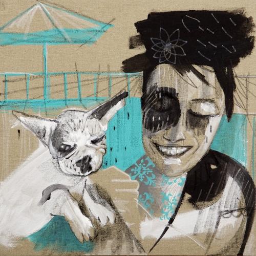 me and my dog - technique mixte sur toile renversée- 50x50cm - 2015 (1)