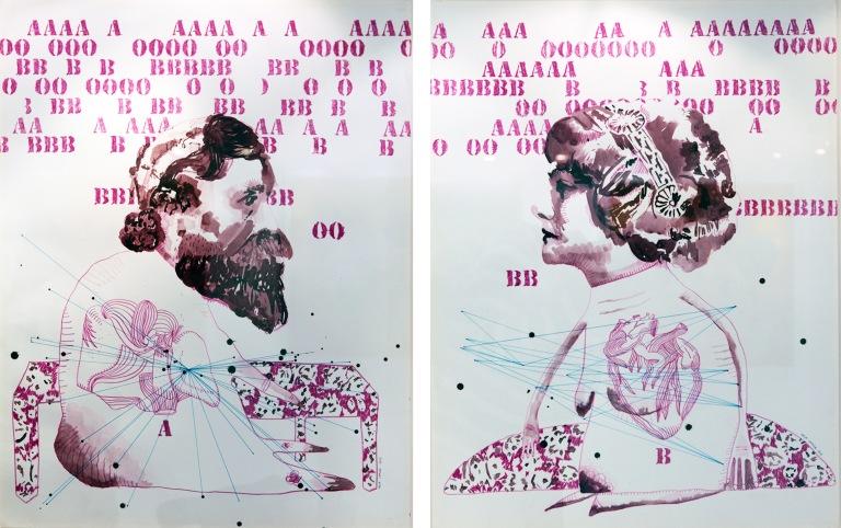 Pigeon voyageur I, dessin sur papier, 50x65 cm, 2014.